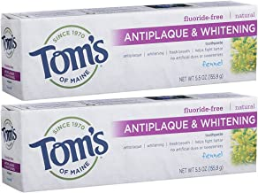 Tom's of Maine Fluoride-Free Antiplaque & Whitening Toothpaste, Natural Toothpaste, Fluoride Free Toothpaste, Fennel, 5.5 Ounce, 2-Pack