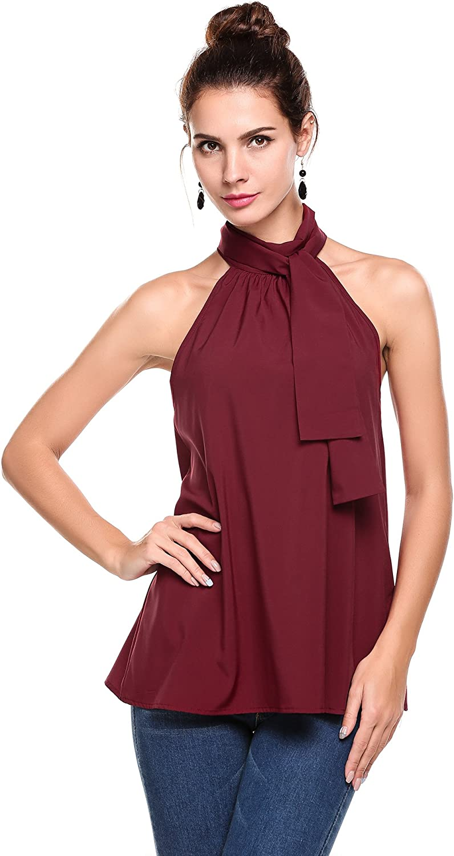 Pinspark Women's Summer Sleeveless Halter Neck Tank Tops Loose Casual Chiffon Blouse Shirt S-XXL