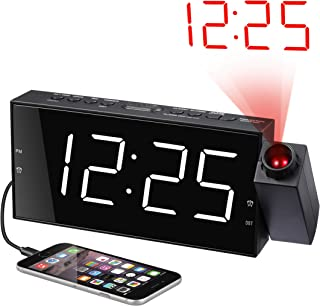 Projection Alarm Clock for Bedrooms, Digital Alarm Clock with Large 7� LED Display & Dimmer, 180� Projector, USB Charger, 12/24 H, DST, Snooze, Battery Backup, Desk Wall Ceiling Clock for Kid Elderly