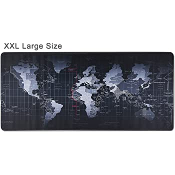 Extended XXL Gaming Mouse Pad - Portable Large Desk Pad - Non Slip Water Resistant Rubber Base, World Map, Gaming Mouse Pad Keyboard Pad. Large Area for Keyboard and Mouse