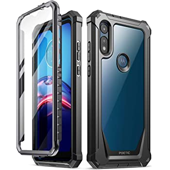 Poetic Guardian Series Designed for Moto E 2020 Case, Full-Body Hybrid Shockproof Bumper Cover with Built-in-Screen Protector, Black/Clear
