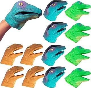 Barry-Owen Co.. (12 Pack Lizard Hand Puppet Toy Flexible Rubber Fun Party Favor Dinosaur Head for Kids
