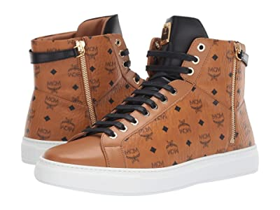 MCM High Top Lace-Up Sneaker (Cognac) Men