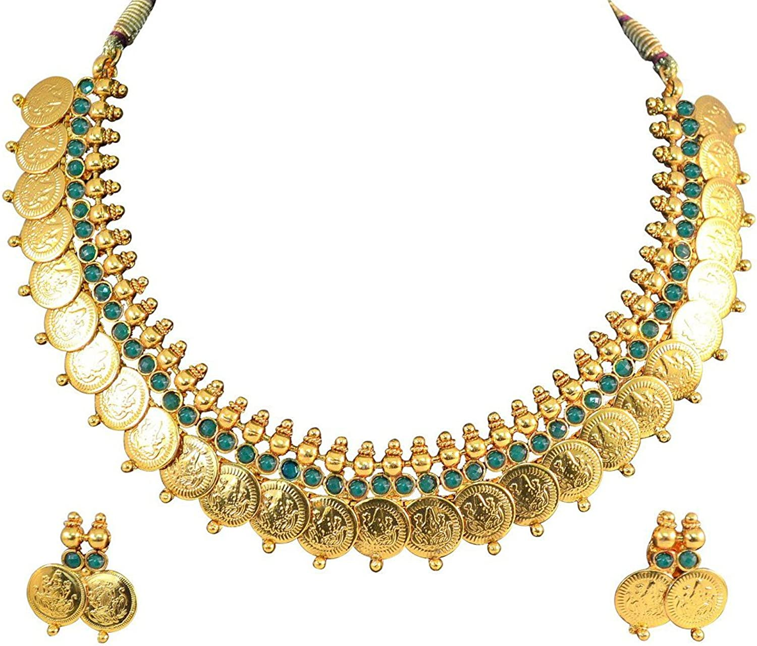 YouBella Fashion Jewelry Bollywood Ethnic gold Plated Traditional Indian Temple Necklace Set with Earrings for Women