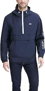 Men's Retro Lightweight Taslan Hooded Popover Water Resistant Windbreaker Jacket