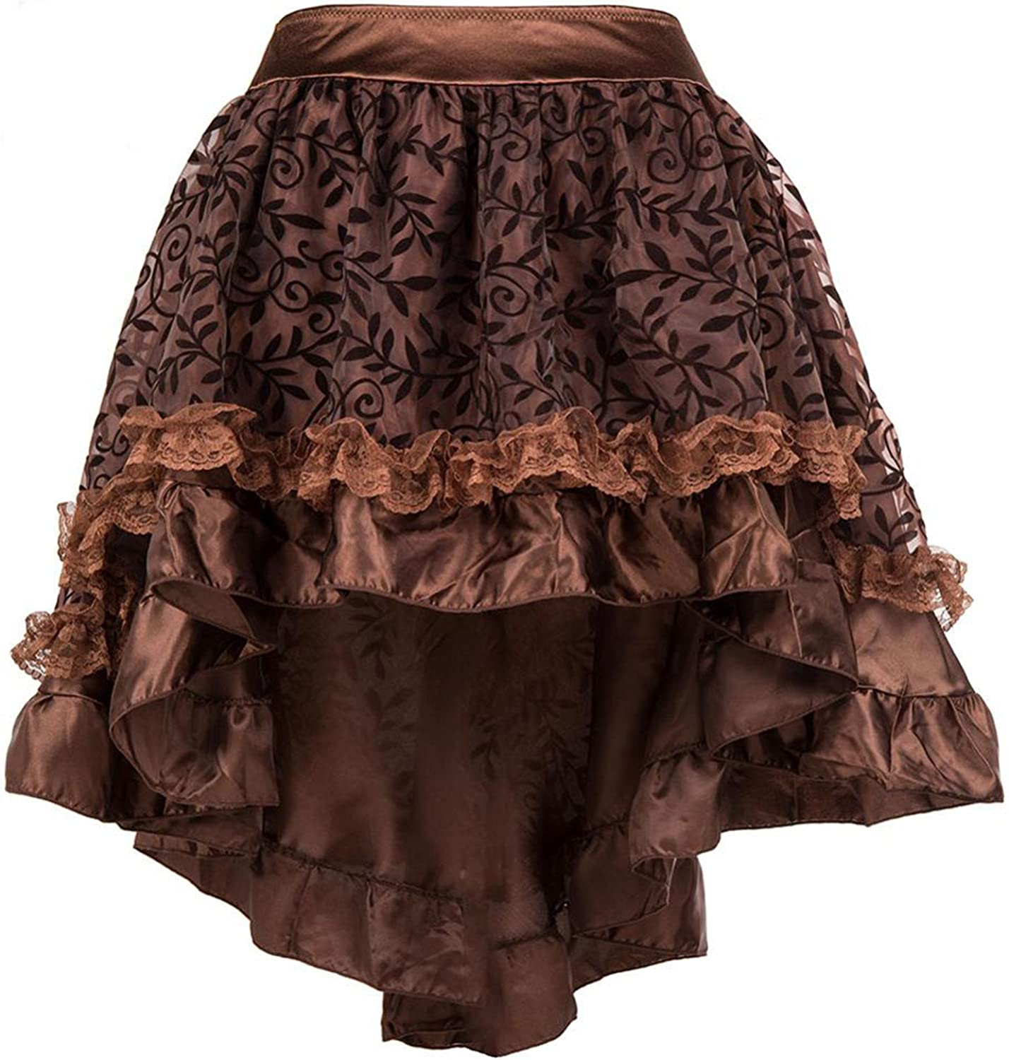 Naomiky S6XL Brown Asymmetrical Floral Tulle Ruffled Satin & Lace Trim Skirts Womens Vintage Steampunk Clothing Skirt