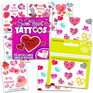 Heart Stickers and Tattoos Party Supplies Pack (Over 100 Heart Stickers, 50 Hearts Temporary Tattoos)