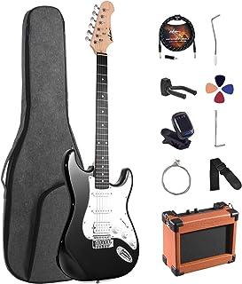 کیت مبتدی گیتار الکتریک ADM 39 اینچ Sunburst ، بسته استارتر با تقویت کننده ، کیف ، Capo ، بند ، سیم ، تیونر ، کابل و انتخاب (سیاه)