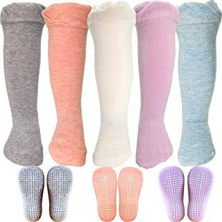 Baby Infants Toddler Anti Slip Knee High Boot Socks Stockings with Grips for Girls and Boys 5 Pairs