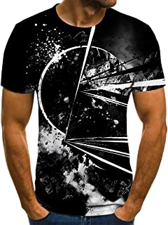 Men's Sports T-Shirt, 3D Printed Pattern Short Sleeve Running Top Breathable Gym Tops Training Hip Hop Clothing