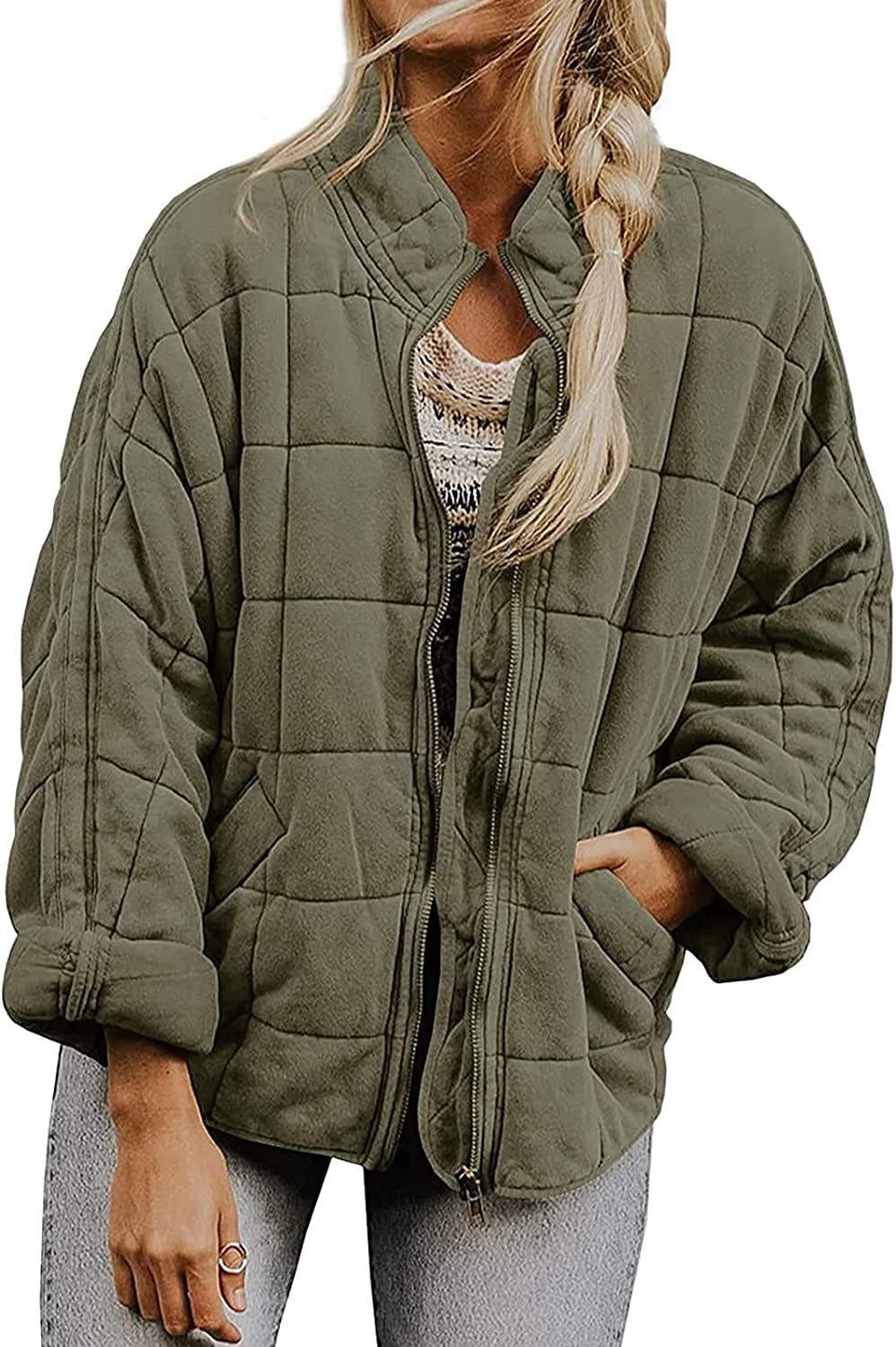 Womens Fashion Zipper Cardigan Plush Warm Short Jacket Coat Casual Fuzzy Fleece Outwear Solid Color Quilted Anorak Coat