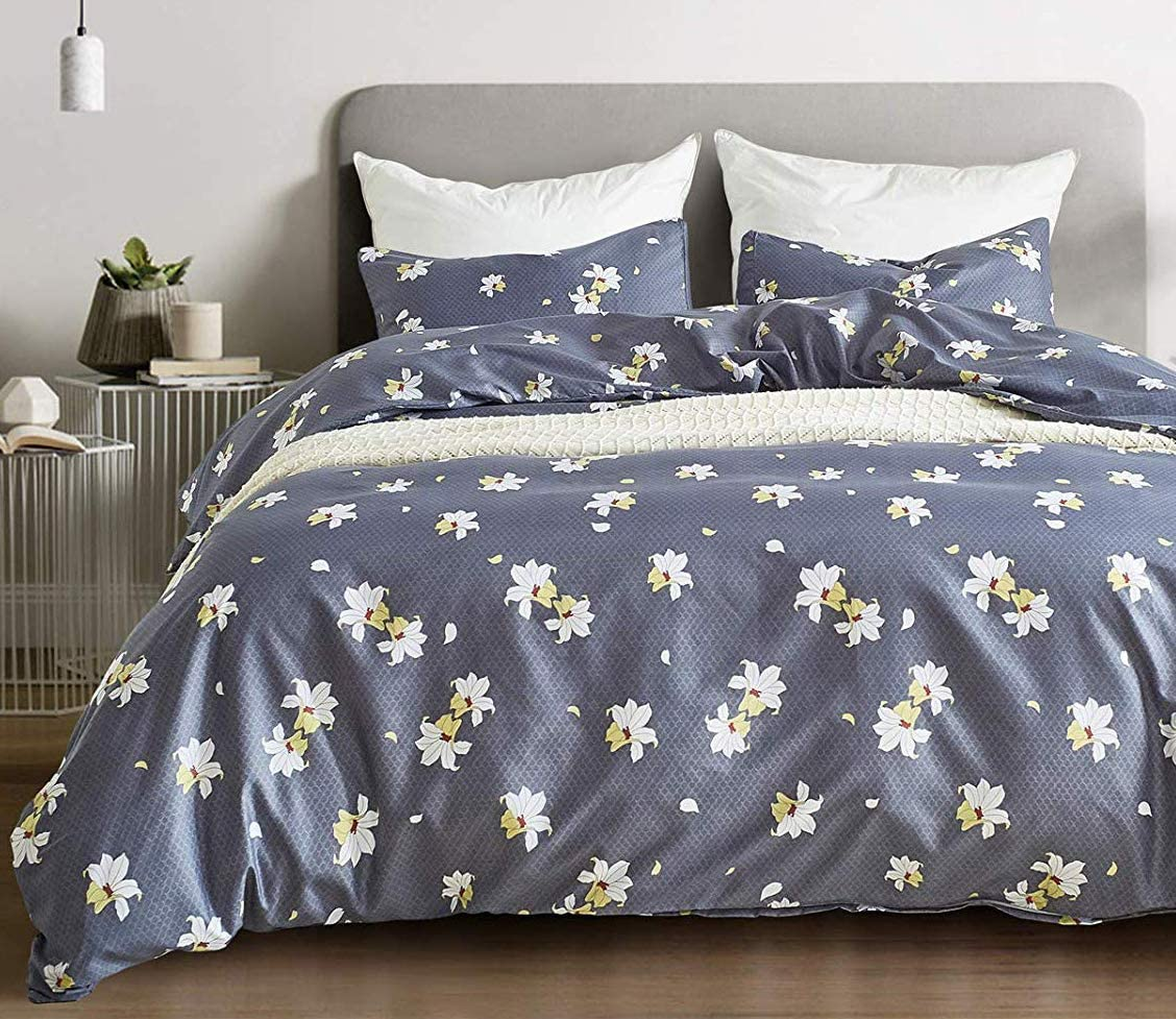 BBSET Floral Duvet Cover Super sale Sets Queen B White Flowers Printed Limited price - on