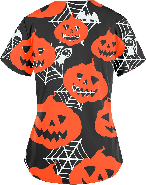 Womens Tops Women Short Austin Mall Sleeve Uniform 2021 autumn and winter new Pumpkin Hallo V-Neck
