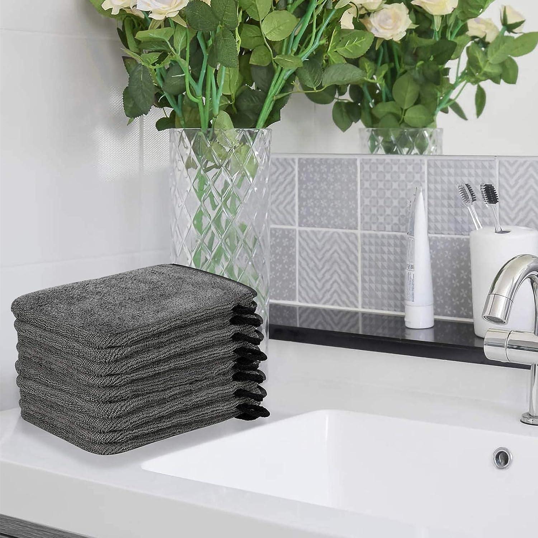 Taille 15 x 21 cm Gris PHOGARY Lot de 10 Gants de Toilette Microfibre Gants de Bain de Tissu /éponge