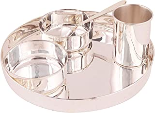 Msa Jewels Pure Silver Thali Set| with Premium Box (Purity 92.5 Sterling Silver Weight 652 Gram)…