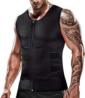 Mens Sweat Sauna Vest for Waist Trainer Zipper Neoprene Tank Top, Adjustable Sauna Workout Body Shape Zipper Suit