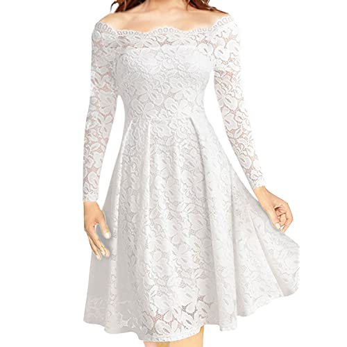 e79135aaf36 Women s Vintage Floral Lace Formal Dresses for Any Plus Size Women Boat  Neck Swing Cocktail Dress