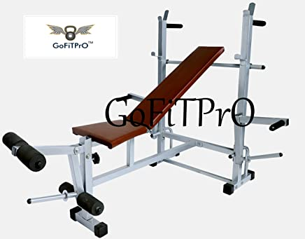 GoFiTPrO Multipurpose Home Gym 8 in 1 Bench (Powder Coated Silver Colour)