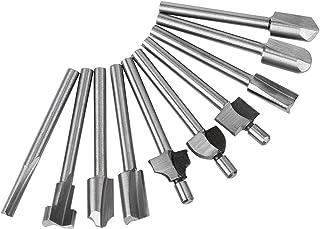 hakkin 10piezas Fresa Juego de HSS Broca espiral con eje 3mm–Fresadora de punto de puntas lazos Madera Fresa multifunción herramientas para Dremel, Proxxon