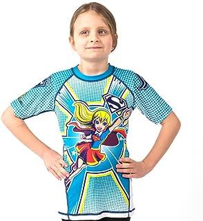 Fusion Supergirl Kids Rash Guard Compression Shirt Short Sleeve