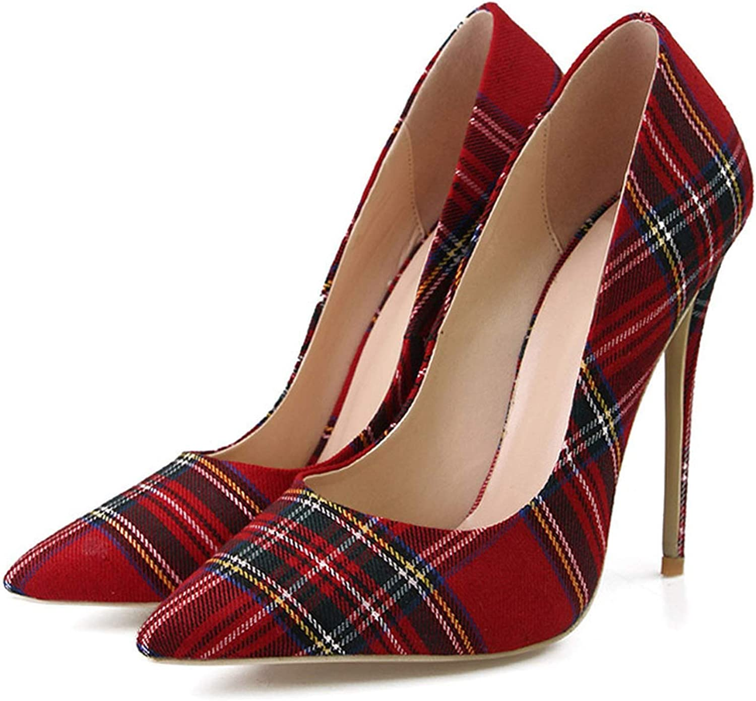 colorful Dream- Stiletto Heels Women Pumps Red Pointed Plaid Shallow High Thin Heels 2019 Party Wedding shoes