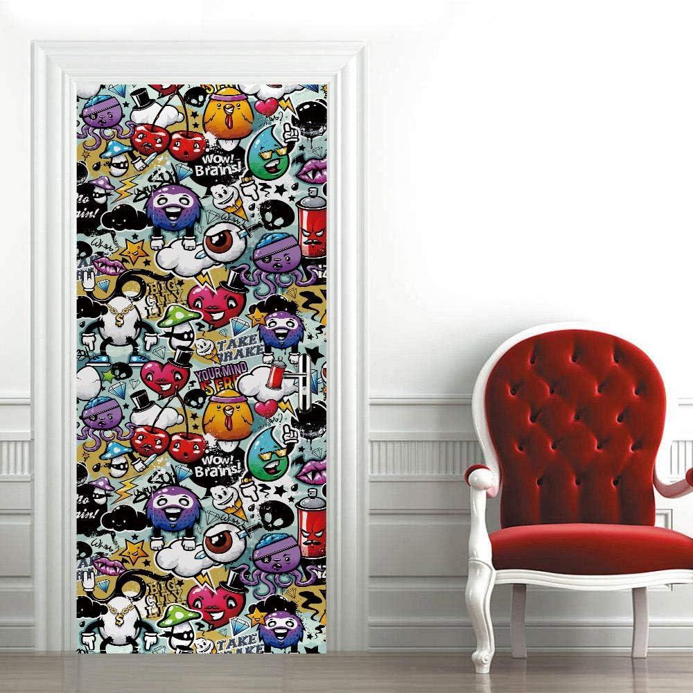 ZWLZJO 3D Door Sticker Wall Cartoon Denver Mall Classic Decal Character Murals Color