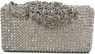 Chicastic Crystal Stud Peacock Motif Hard Box Celebrity Style Evening Clutch Bag