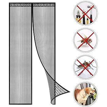 30x83inch Blanco Cortina Puerta Exterior Evita el Paso de Insectos contra Insectos para Puertas Correderas GUOGAI Puertas Mosquitera Magn/ética 75x210cm