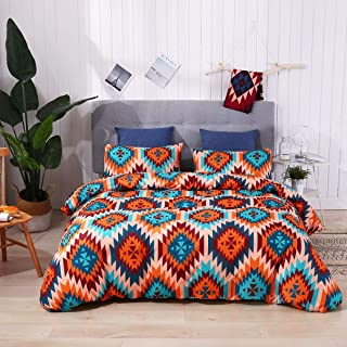 KINBEDY 3 Pieces Colorful Geometric Square Pattern Bedding Colorful Printed King Size Duvet Cover Set Soft Fiber.