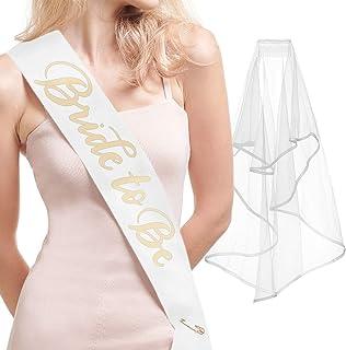 xo, Fetti Bachelorette Party Sash + Veil - Bride to Be | Bachelorette Party Decorations Kit - Sash for Bride | Bridal Shower Gift Supplies