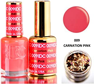 DND DC Reds GEL POLISH DUO, Gel Lacquer 0.5 oz + Matching Nail Polish Color 0.5 oz, Daisy Nails (with bonus side Glitter) Made in USA (Carnation Pink (009))