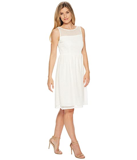 Adrianna Papell Embroidered Diamonds Fit and Flare Ivory Supply For Sale Discount Best Place DrlGWl7