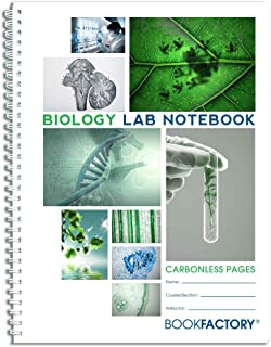BookFactory Carbonless Biology Lab Notebook - 100 Sets of Pages (8.5