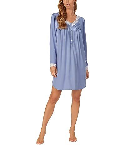 Eileen West Sweater Knit Short Nightgown (Cornflower) Women