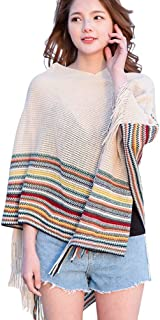 LvRao Womens Striped Knitted Poncho Capes with Fringed Hem Sexy Elegant Beach Cover-Ups Pullover
