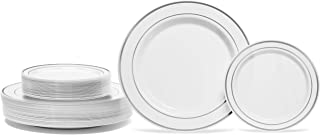 50 Piece Silver Rimmed White Plastic Plate - Set for 25 Guest By Oasis Creations- 25x9'' and 25x6