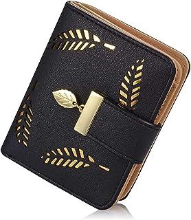 NEEWERS Women's Short Purse Leather Medium Wallet Leaf Bifold Card Coin Holder Small Purses Buckle Zipper (Black)