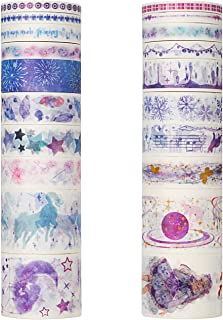 Molshine 20rolls(6.6ft/roll) Washi Masking Tape,Adhesive Paper,Cute Tape,Skin Sticker for DIY,Planners,Scrapbooking,Object Beautification,Home Furnishing Decor,Gift Wrapping-Maiden's Prayer Series