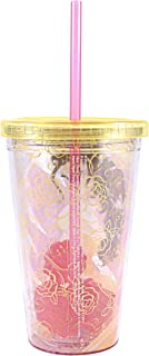 Silver Buffalo DP48087Q Disney Princess Belle Plastic Cold Cup with Rose Shaped Ice Cubes, 16-Ounces