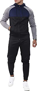 shelikes Men's Tracksuit Set Full Zip Hooded Joggers Gym Suit