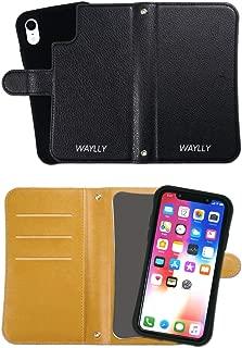 iPhone XR ケース どこでもくっつくケース WAYLLY(ウェイリー) アイフォンXRケース 着せ替え 耐衝撃 米軍MIL規格 [専用ミラー付き手帳型ケース ブラック] セット MK