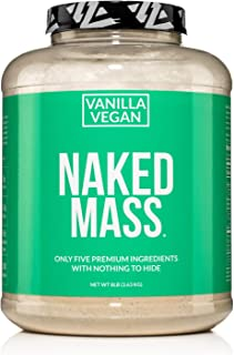 Naked Mass - Vanilla Vegan Weight Gainer - 8lb Bulk, GMO Free, Gluten Free, Soy Free & Dairy Free. No Artificial Ingredien...