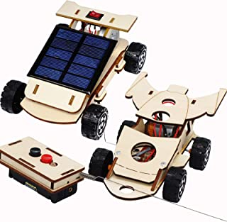 CYOEST Wooden Solar & Wireless Remote Control Car Model Kits to Build - DIY Science Experiment and Educational STEM Toys for Kids Teens,Circuit Engineering Project 2 Kits