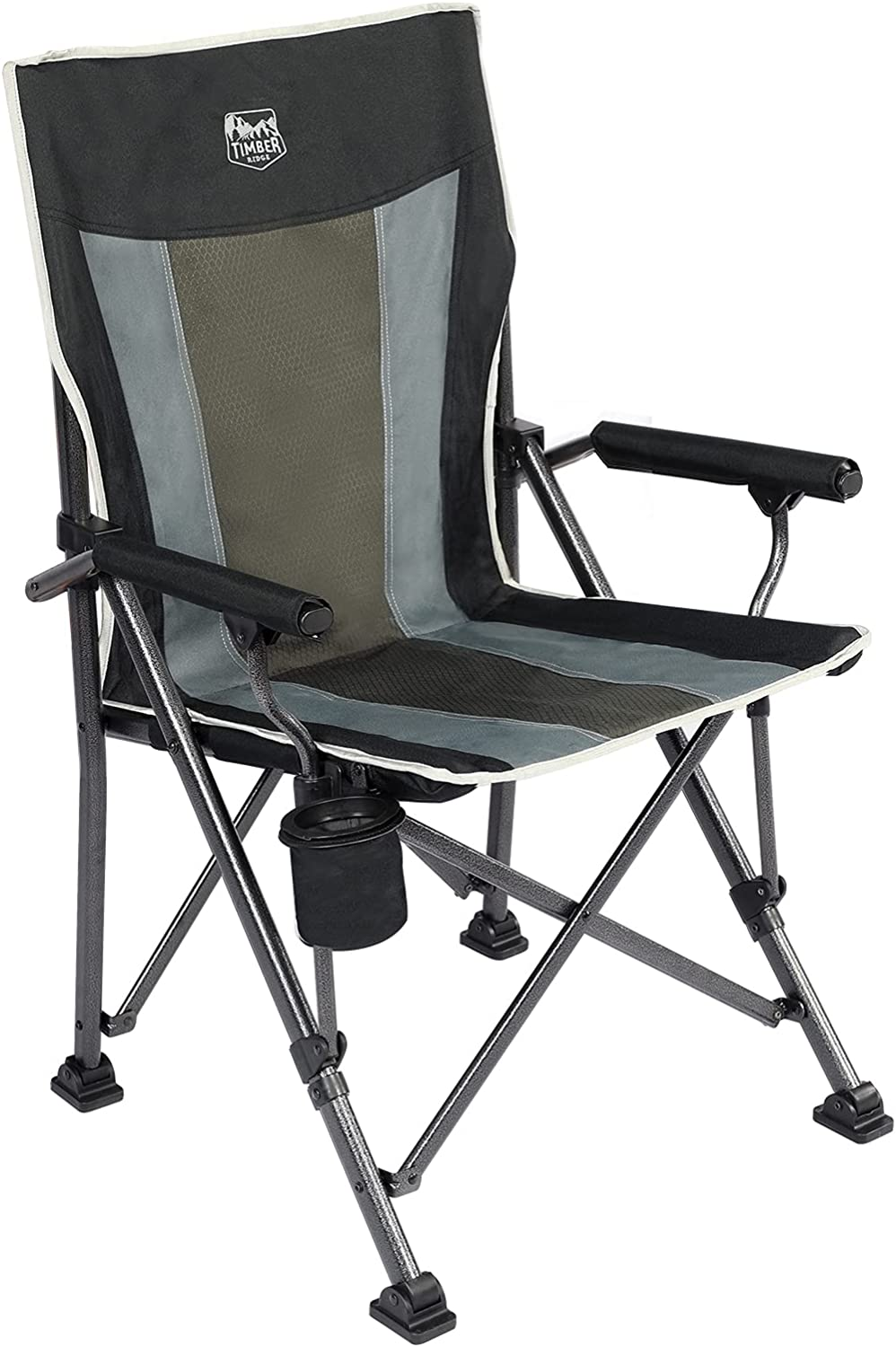TIMBER RIDGE High Back Folding Camping Chair with Padded Hard Armrest and Cup Holder-for Outdoor, Camp, Fishing, Hiking, Lawn, Including Carry Bag (Black)