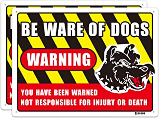 No Trespassing Beware of Dog Sign with Graphic, 2-Pack Indoor Outdoor Metal Aluminum 15.7X 11.8 Inch Rust Free UV Printed Caution Warning Sign 40Mil Thick, Easy Mount on Fence or Gate by COSOOS
