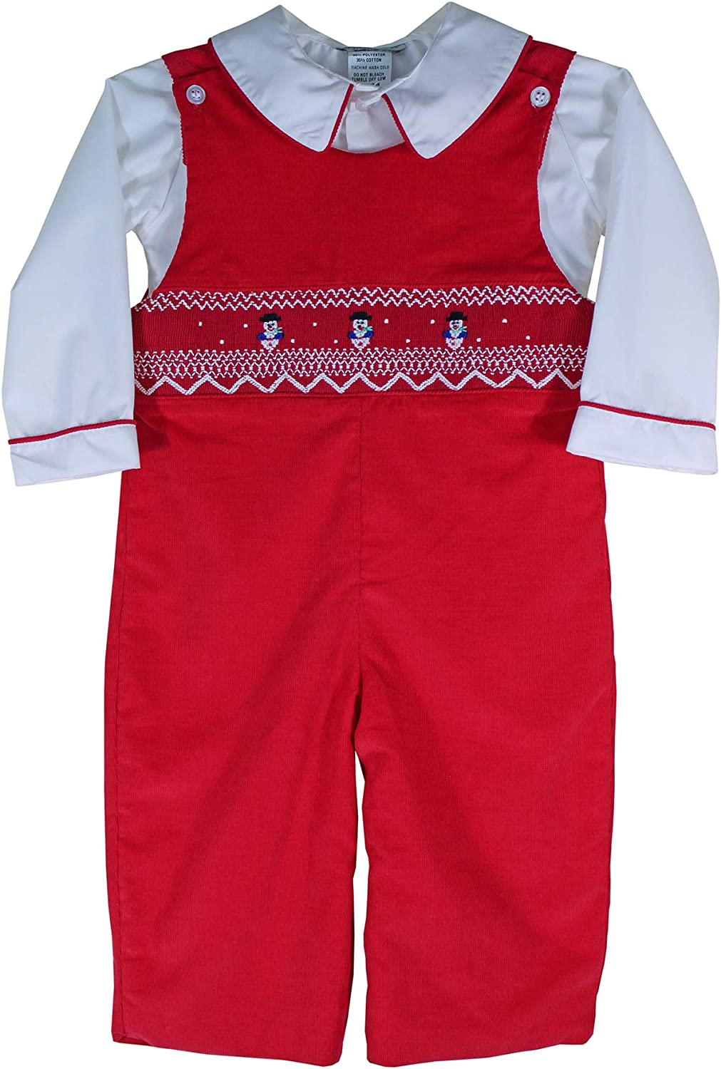 Hand Smocked Snowman Red Christmas Dresses for Baby Girls and Toddlers