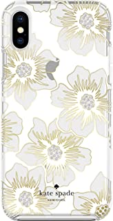 Kate Spade New York Phone Case | For Apple iPhone XS Max | Protective Phone Cases with Slim Design, Drop Protection, and Floral Print - Reverse Hollyhock Floral Clear / Cream with Stones