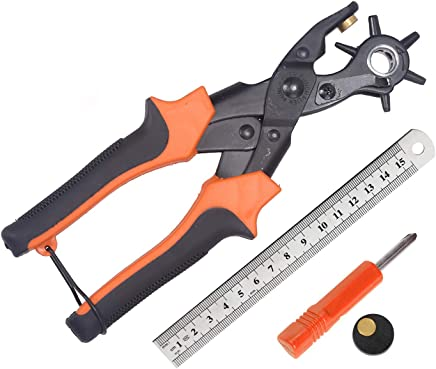 穴開けパンチ レザーパンチ 回転式 丸穴 楕円6つ大きさ 2mm~4.5mm 丸 時計 ベルト (オレンジ)スペーサとドライバー付属 物差し付き