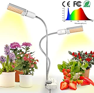 LED Grow Light for Indoor Plant, Relassy 15000Lux Sunlike Full Spectrum Grow Lamp, Dual Head Gooseneck Plant Light with Replaceable Bulb, Professional for Seedling Growing Blooming Fruiting