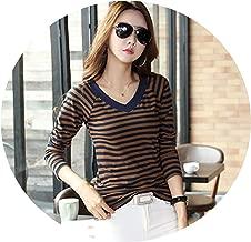 Dreamedge Long Sleeve Spring Casual Shirt StripedWomen's Cotton Camisa Feminina